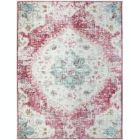 "ReaLife Machine Washable Rug - Stain Resistant, Non-Shed - Eco-Friendly, Non-Slip, Family & Pet Friendly - Made from Premium Recycled Fibers - Vintage Distressed Bohemian - Pink, 7'6""x9'6"""