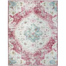 ReaLife Machine Washable Rug - Stain Resistant, Non-Shed - Eco-Friendly, Non-Slip, Family & Pet Friendly - Made from Premium Recycled Fibers - Vintage Distressed Bohemian - Pink, 3'x5'