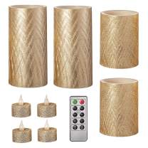 Darice Gold, Battery-Operated LED Candle Set: Textured, Unscented, Remote Included, 9 Pieces