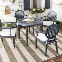 Safavieh PAT6706K Collection Chino Grey 5Pc Outdoor Dining Set, Dark Slate Gray/White