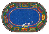Flagship Carpets The Good Friend Train, Children's Classroom Educational Rug, 4'x6', Oval, Blue/Multi-Color