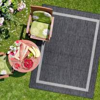 Camilson Outdoor Rug - Modern Area Rugs for Indoor and Outdoor patios, Kitchen and Hallway mats - Washable Outside Carpet (8x10, Bordered - Dark Grey / Light Grey)