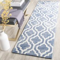 "Safavieh Dip Dye Collection DDY537K Handmade Geometric Moroccan Watercolor Blue and Ivory Wool Runner (2'3"" x 6')"