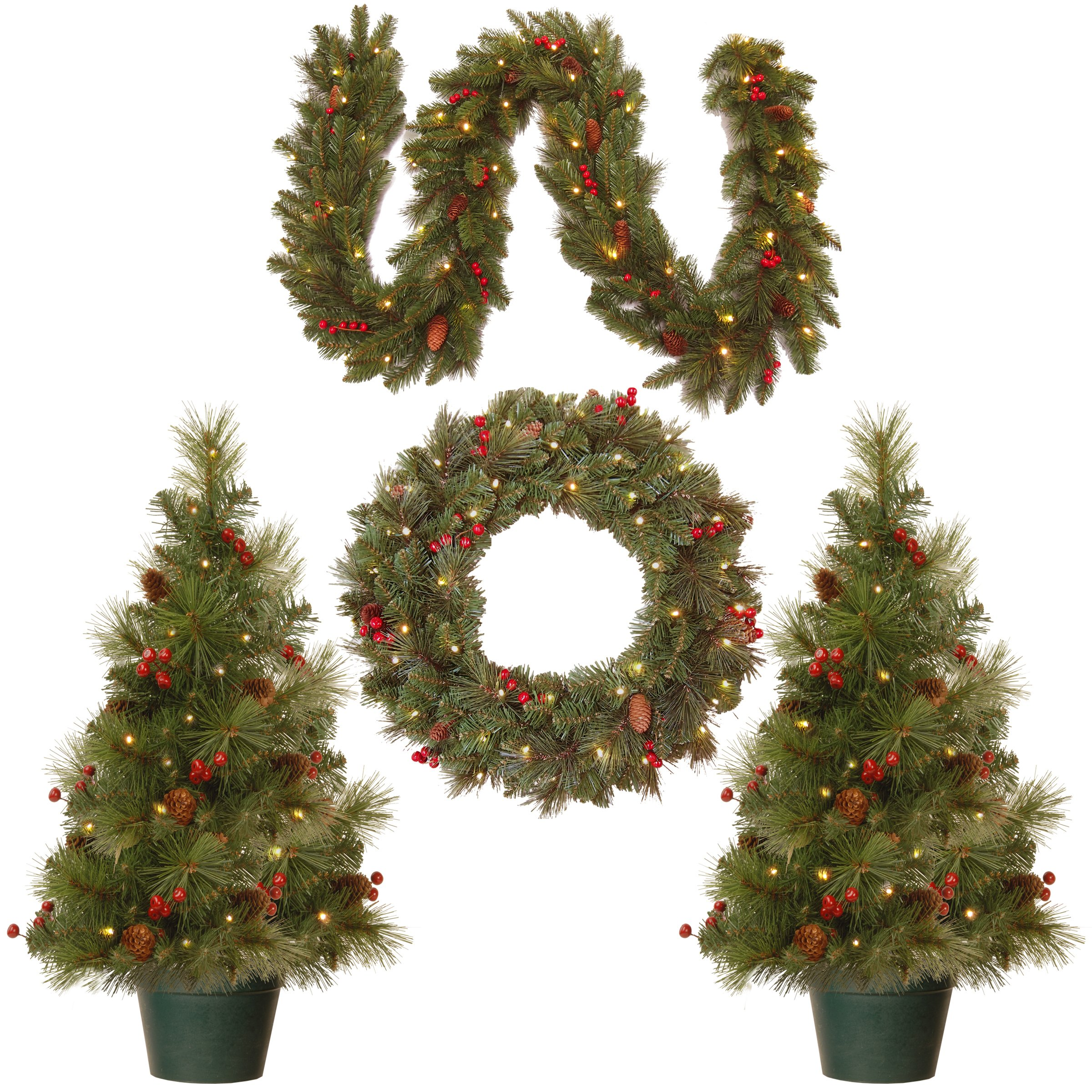 National Tree Holiday Decorating Assortment with 2 3 Foot Entrance Trees, 1 9 Foot by 8 Inch Garland and 1 24 Inch Wreath all with Warm White Battery Operated LED Lights (ED7-PRO-ASST)