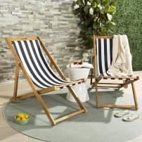 Safavieh PAT7040A-SET2 Outdoor Collection Loren Teak, White Foldable Sling Adirondack Chair, Natural/Navy Stripe
