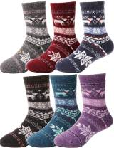 Kids Wool Socks 6 Pack Toddlers Girls Boys Boot Warm Cabin Winter Snow Thick Thermal Crew Child Funny Socks