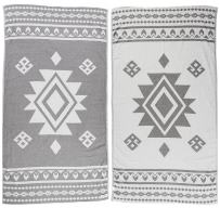 Bersuse 100% Cotton - Uxmal Turkish Towel - Peshtemal Bath Beach Towel - Tribal Design - Dual-Layer, Oeko-TEX - 37 x 70 Inches, Silver Gray (Set of 3)