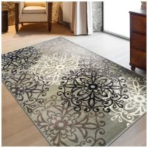 Superior Elegant Leigh Collection Area Rug, 8mm Pile Height with Jute Backing, Chic Contemporary Floral Medallion Pattern, Anti-Static, Water-Repellent Rugs - Blue, 4' x 6' Rug