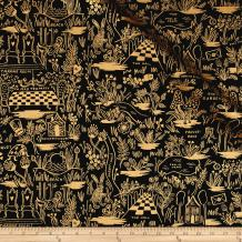 Cotton + Steel Rifle Paper Co. Wonderland Canvas Metallic Magic Forest Charcoal