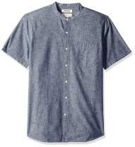 Amazon Brand - Goodthreads Men's Standard-Fit Short-Sleeve Band-Collar Chambray Shirt