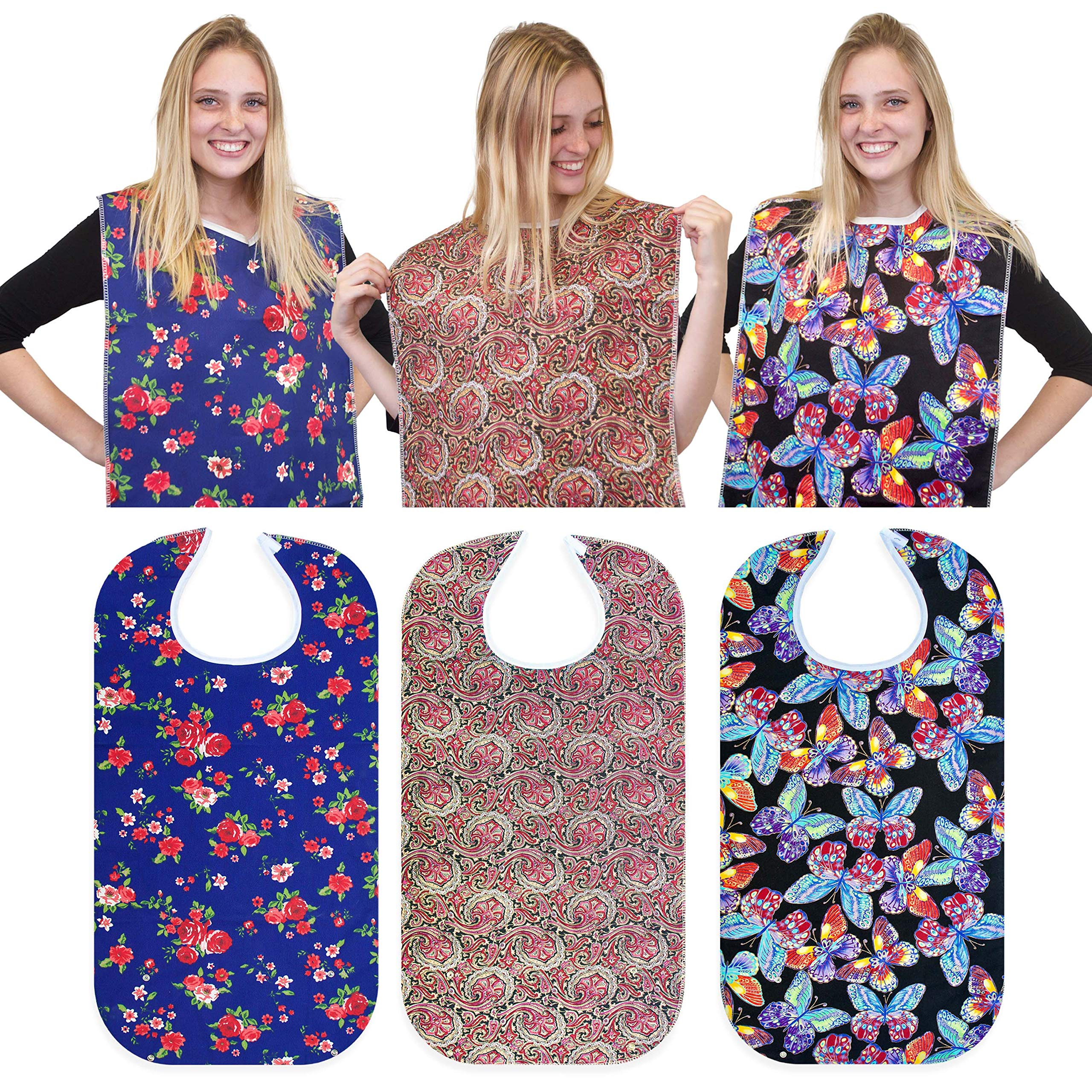 """RMS 3 Pack Adult Bib Washable Reusable Waterproof Clothing Protector with Optional Crumb Catcher and Vinyl Backing 34""""X18"""" (Butterfly/Blue Rose/Heritage)"""