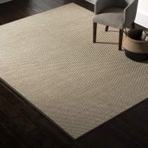 Amazon Brand – Rivet Woven Bordered Sisal Area Rug, 8 x 10 Foot, Charcoal