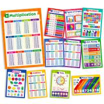 11 Educational Math Posters - Multiplication Chart Table, Place Value Chart, Money, Shapes Poster, Fractions, Division, Addition, Subtraction, Numbers, Classroom Decorations, 13x19 (Laminated)