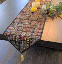 "DaDa Bedding Tapestry Table Runner - Ethnic Ornament Geometric Black - Multi-Colorful Cotton Linen Woven Dining Mats - 13"" x 72"""