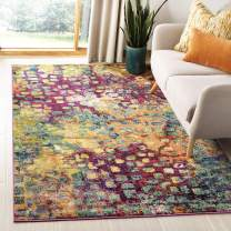 Safavieh Monaco Collection MNC225D Modern Boho Abstract Watercolor Area Rug, 3' x 5', Pink/Multi