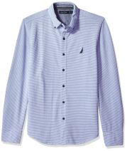 Nautica Long Sleeve Striped Button Down Knit Shirt