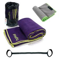 YogiMall Hot Yoga Towel, Hand Towel, Strap and Carry Bag 4 in 1 Value Pack - Super Absorbent, Non Slip, Extends Mat Life and Improves Grip - Perfect for Bikram/Hot Yoga, Pilates and More