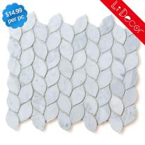Italian Carrara White Marble Leaf Tiles Polished-4Pack