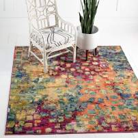 Unique Loom Jardin Collection Colorful Abstract Multi Square Rug (9' 10 x 9' 10)