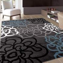 """Contemporary Modern Floral Flowers Gray Area Rug 3'3"""" x 5'3"""""""