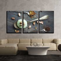 """wall26 - 3 Piece Canvas Wall Art - Scoop of Homemade Pistachio Ice Cream - Modern Home Decor Stretched and Framed Ready to Hang - 24""""x36""""x3 Panels"""