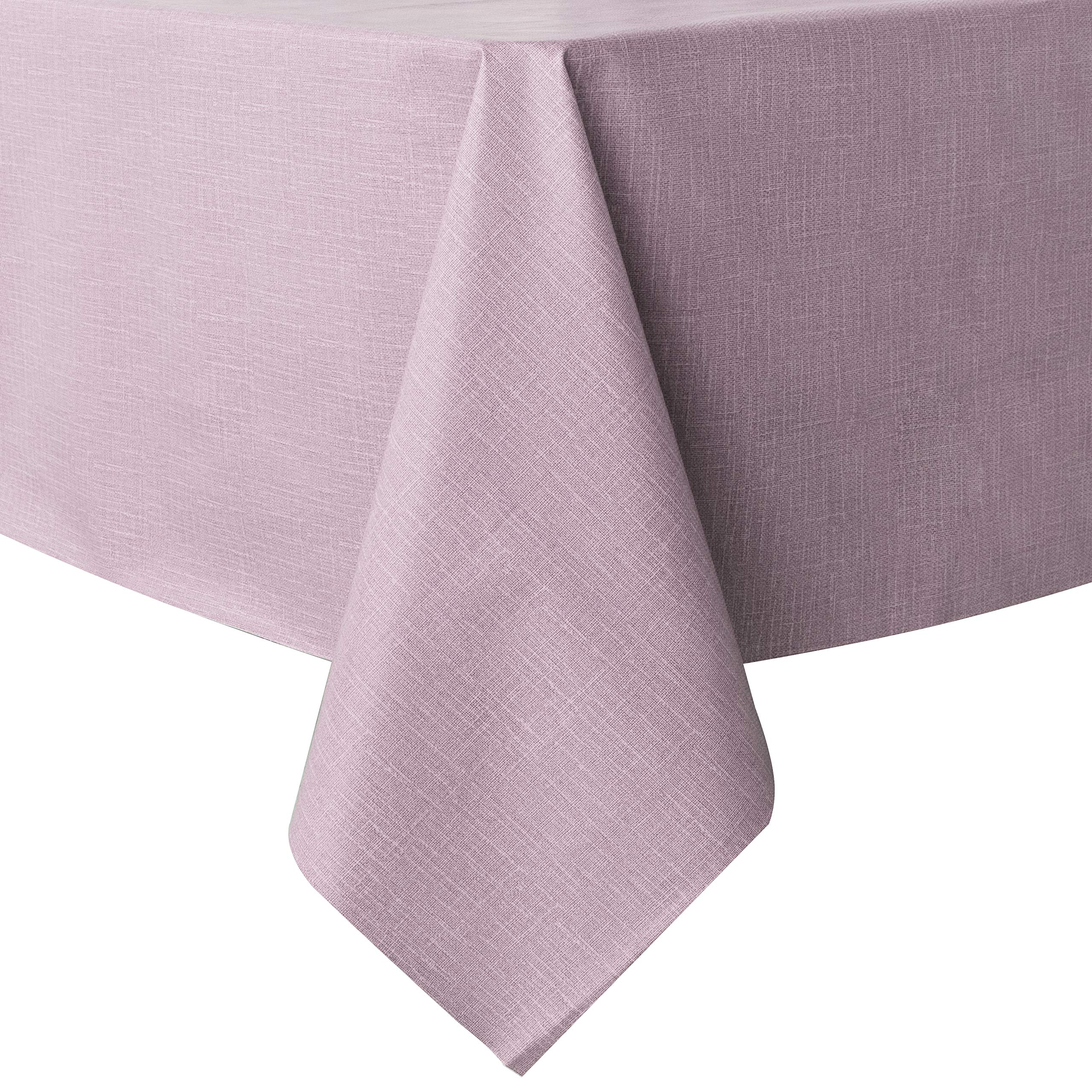 sancua 100% Waterproof Rectangle PVC Tablecloth - 52 x 70 Inch - Oil Proof Spill Proof Vinyl Table Cloth, Wipe Clean Table Cover for Dining Table, Buffet Parties and Camping, Pink