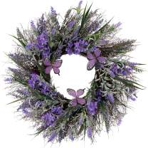 Valery Madelyn 24 Inch Silk Spring Wreath with Lavender, Artificial Purple Flowers, Butterfly and Green Leaves for Front Door, Wall, Home and Wedding Decorations