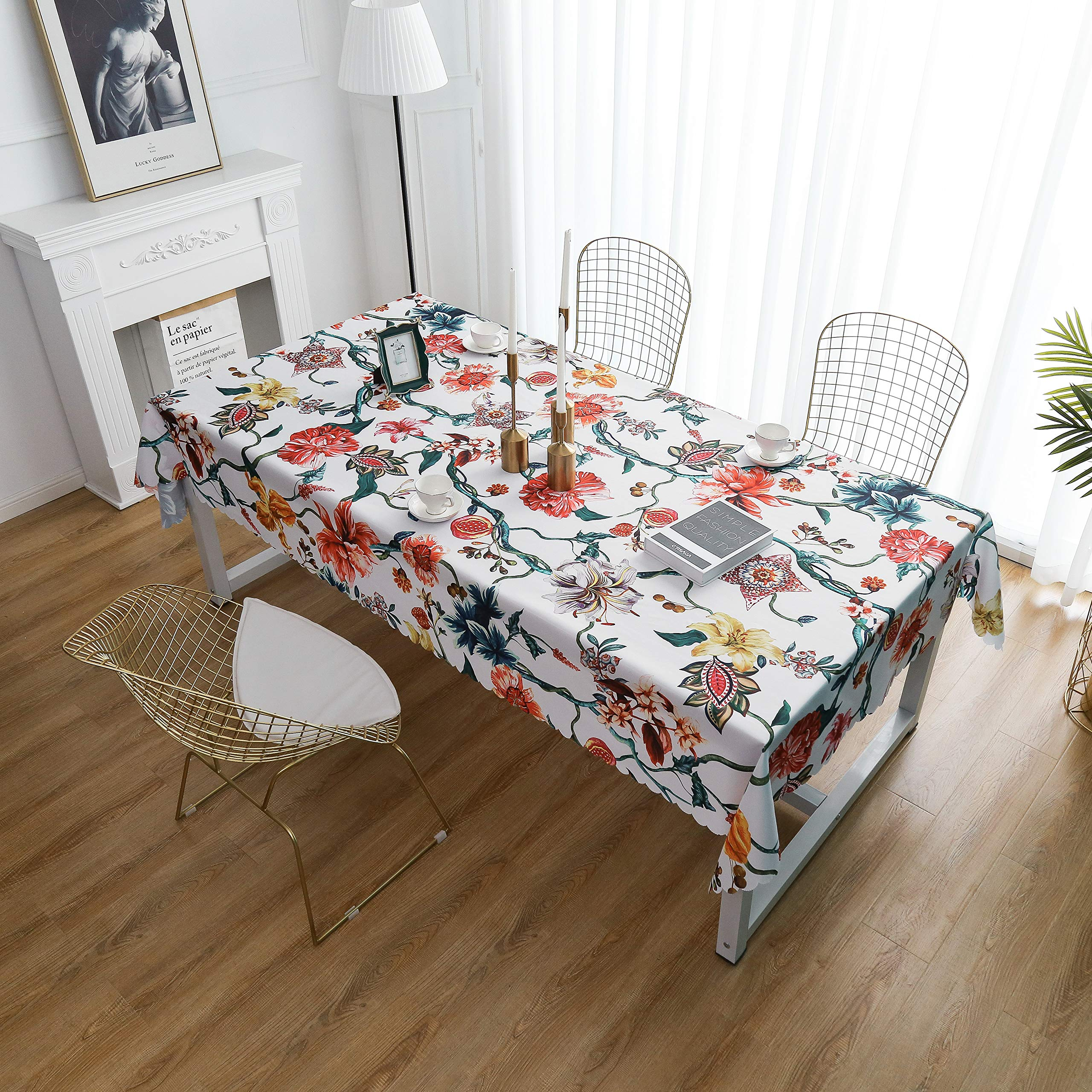 """iLiveX Tablecloth, Original Design Hand Drawing Art Print Table Cloth, Water-Proof Rectangle Table Cover, Kitchen Dining Indoor Outdoor Buffet Tabletop Decoration, 60""""x84"""" (Flower Vine)"""