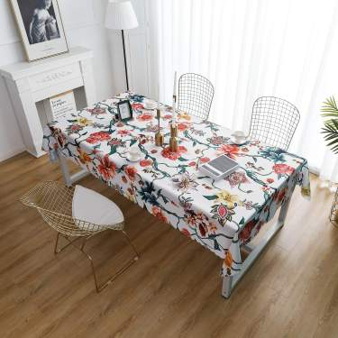 Ilivex Table Cloth Original Design Hand Drawing Art Print Tablecloth Water Proof Rectangle Table Cover Kitchen Dining Indoor Outdoor Buffet Tabletop Decoration 60 X102 Flower Vine