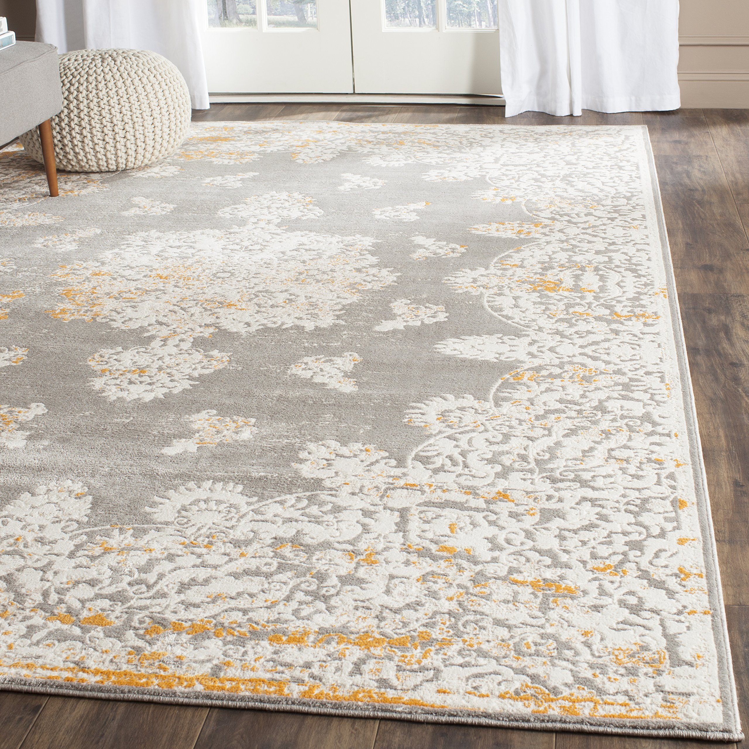 """Safavieh Passion Collection PAS406F Oriental Vintage Watercolor Grey and Ivory Distressed Area Rug (4' x 5'7"""")"""