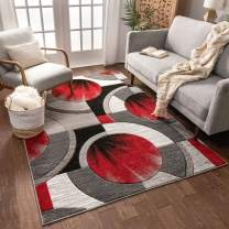 "Well Woven Sunburst Red, Light Grey, Charcoal Modern 6x9 7x9 (6'7"" x 9'3"") Geometric Comfy Casual Hand Carved Area Rug Easy to Clean Stain & Fade Resistant Abstract Contemporary Thick Soft Plush"