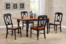 Sunset Trading 5 Piece Drop Leaf Extension Dining Table Set with Napoleon Chairs, Antique Black/Cherry