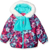 LONDON FOG Girls' Puffer Jacket with Scarf & Hat