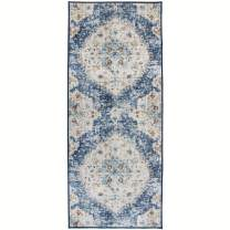 """ReaLife Machine Washable Rug - Stain Resistant, Non-Shed - Eco-Friendly, Non-Slip, Family & Pet Friendly - Made from Premium Recycled Fibers - Vintage Distressed Bohemian - Blue, 2'6""""x6'"""