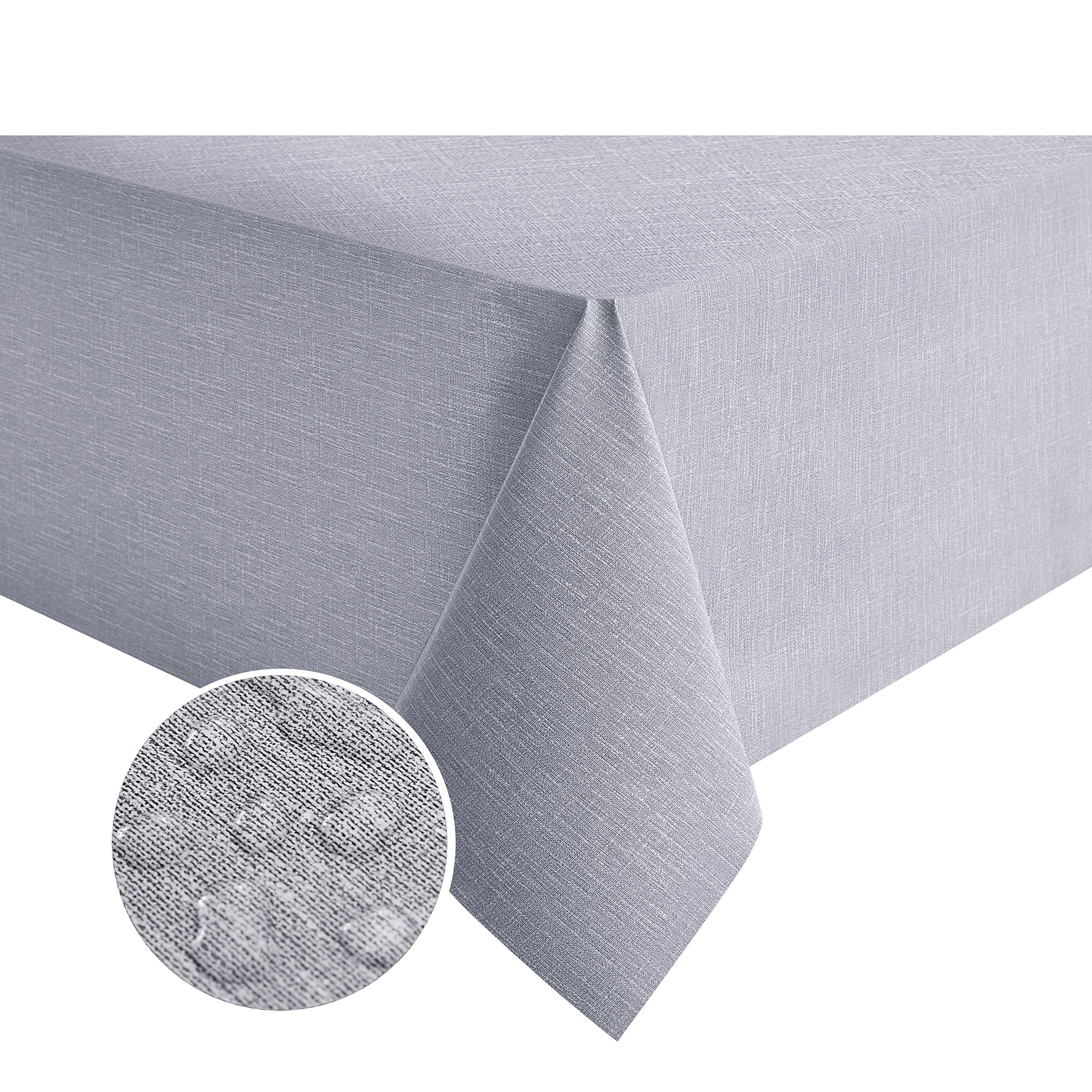NLMUVW Square Vinyl Tablecloth 100% Waterproof Oil Proof Spill Proof PVC Table Cloth Wipe Clean Table Cover for Kitchen Dining Picnic, 54 x 54 inch, Grey