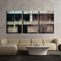 """wall26 - 3 Piece Canvas Wall Art - Discarded Ruin with Old Windows and Wall, Industrial Window in Concrete Wall - Modern Home Decor Stretched and Framed Ready to Hang - 24""""x36""""x3 Panels"""