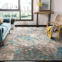 Safavieh Monaco Collection MNC225E Modern Boho Abstract Watercolor Area Rug, 9' x 12', Grey/Light Blue