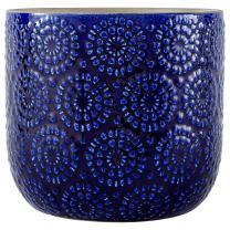 "Amazon Brand – Stone & Beam Modern Ceramic Floral Embossed Decorative Planter Flower Pot, 7.4""H, Blue"