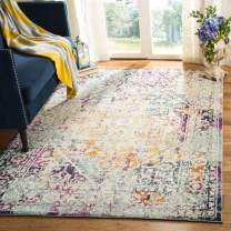 Safavieh Madison Collection MAD922A Watercolor Distressed Area Rug, 6' x 9', Ivory/Aqua