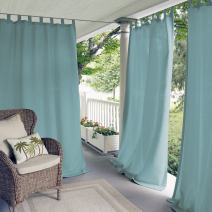 """Elrene Home Fashions Indoor/Outdoor Solid UV Protectant Tab Top Single Window Curtain Panel Drape for Patio, Pergola, Porch, Deck, Lanai, and Cabana Matine Mineral Blue 52""""x84"""" (1 Panel)"""