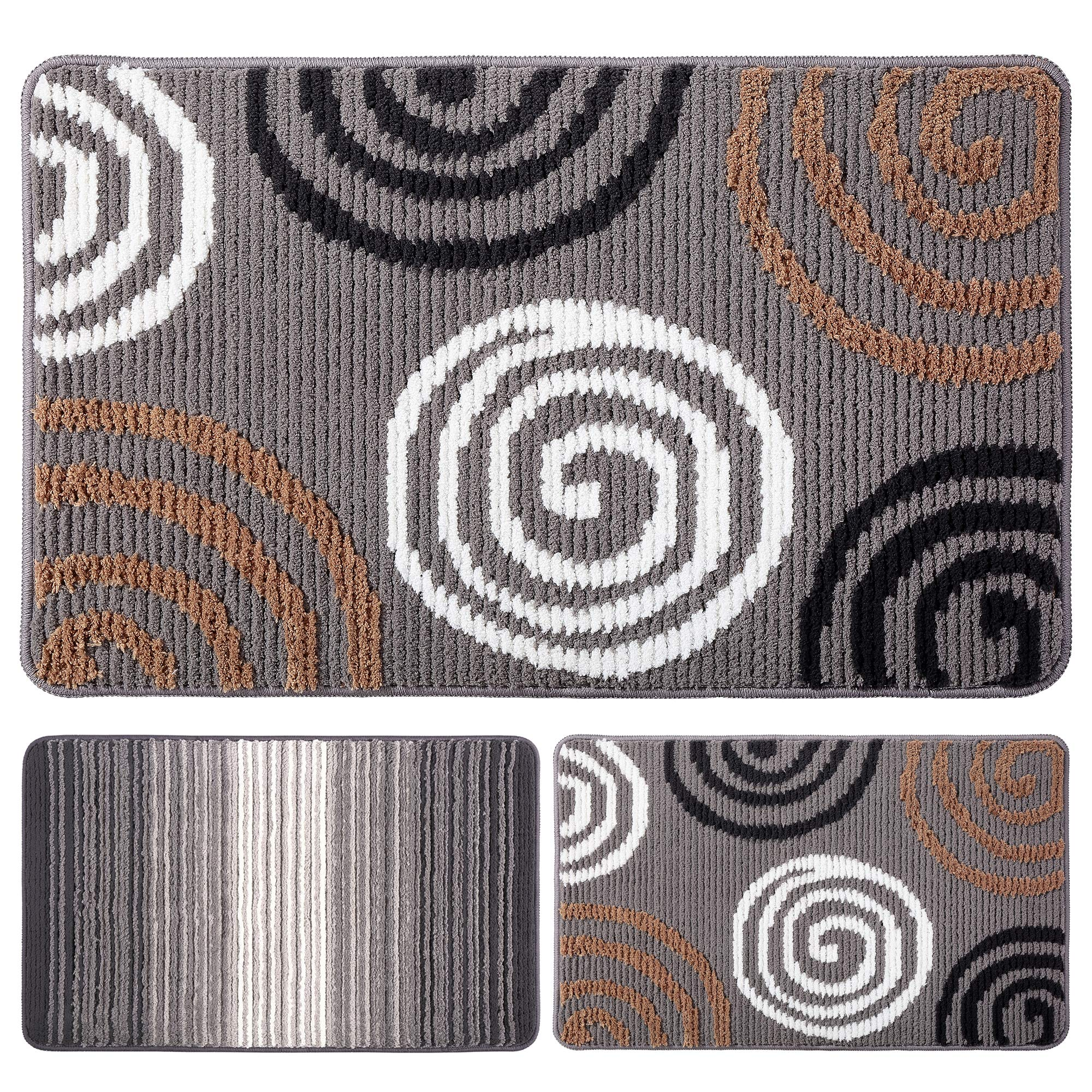 "Indoor Doormat Front Door Mat Non Slip Rubber Backing Super Absorbent Mud and Snow Magic Inside Dirts Trapper Mats Entrance Door Rug Shoes Scraper Machine Washable Rug Carpet - 19"" x 31"" (Grey)"