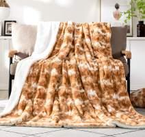 "DaDa Bedding Luxury Throw Blanket For Couch, Sofa, or Bed - Pumpkin Orange Brown Rabbit Faux Fur Sherpa - Super Soft Warm Plush Cozy Fluffy Animal Print - Dreamy Cloud White & Copper Amber - 63"" x 90"""