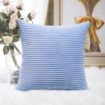 Home Brilliant Striped Velvet Corduroy Euro Sham Large Pillow Case Cushion Cover for Sofa, 24 x 24 inch (60cm), Baby Boy Blue