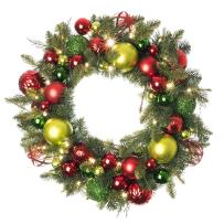 [30 Inch Artificial Christmas Wreath] - Festive Holiday Collection - Red and Green Decoration - Pre Lit with 50 Warm Clear Colored LED Mini Lights - Includes Remote Controlled Battery Pack with Timer