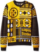 NFL Pittsburgh Steelers Patches Ugly Sweater, Black, Medium