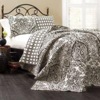 Lush Decor Aubree Quilt Paisley Damask Print Pattern Reversible 3 Piece Lightweight Bedding Blanket Bedspread Set, King, Black and White