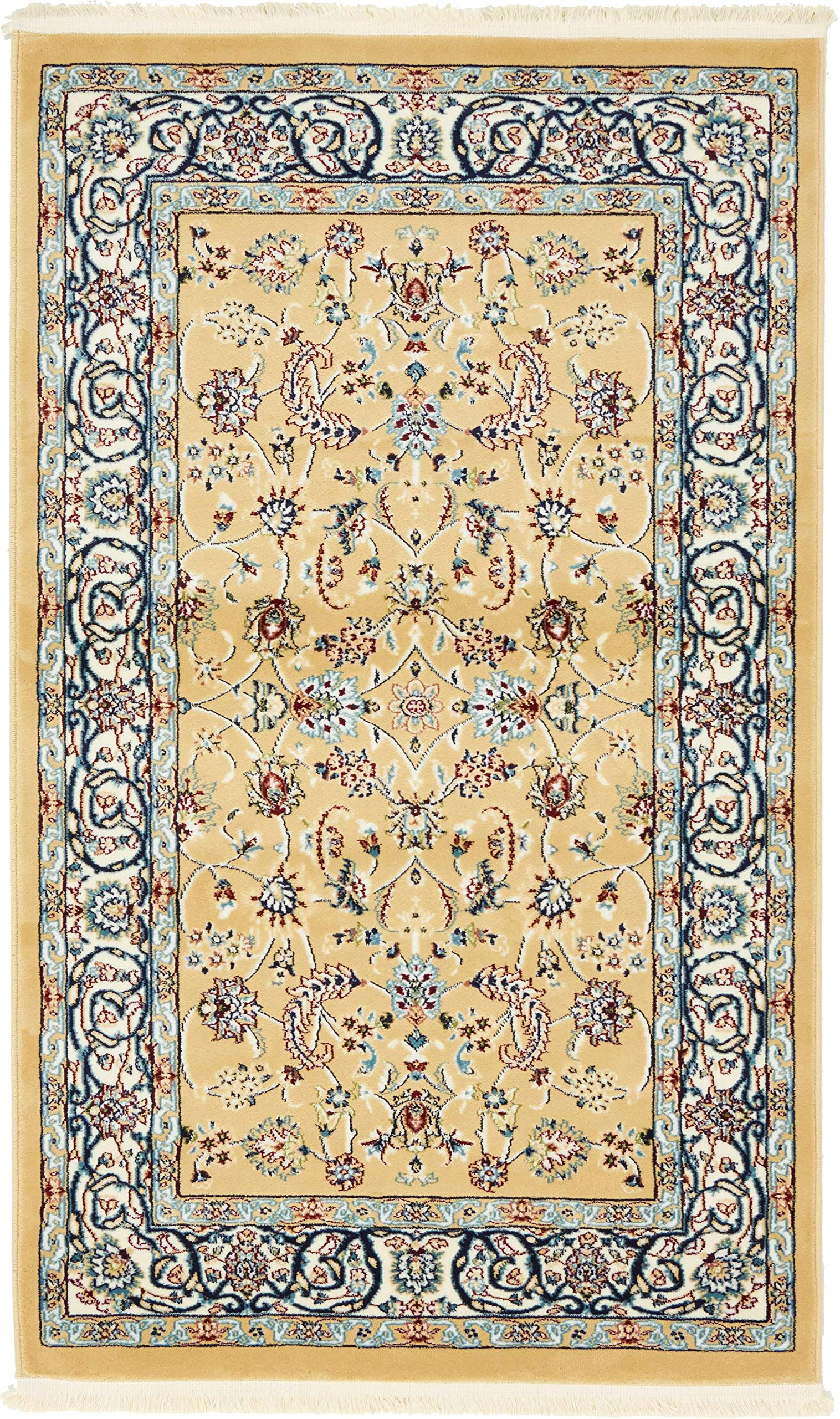 Unique Loom Narenj Collection Classic Traditional Repeating Pattern Beige Area Rug (3' 0 x 5' 0)