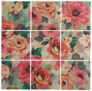 """9-Piece Pastel Floral Art Mural on Wood, 48"""" x 48"""""""