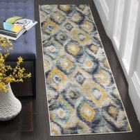 """Safavieh Monaco Collection MNC242J Modern Geometric Ogee Watercolor Blue and Multi Distressed Runner 2'2"""" x 6'"""