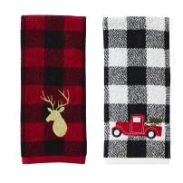 SKL Home by Saturday Knight Ltd. Stag/Truck Hand Towel Set, Red 2 Count